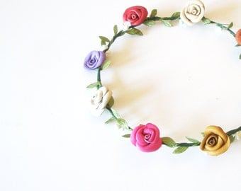 Flower crown - headband -wedding accessory- colorful pink,  green ,red,blue,lavender headpiece - Leather rose -  Leaves Headband