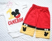 Personalized Chevron Mickey Mouse Birthday Outfit Including Shirt and Pants with Real Buttons