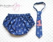 Too If By Sea -- Birthday Cake Smash Nautical Outfit Including Anchor Diaper Cover and Neck Tie