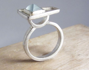Geometric Sterling Silver Ring with Frosty Blue Topaz