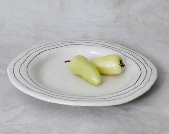 One Porcelain Dinner Plate - Striped Made to Order