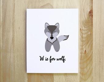 W is for Wolf woodland animal alphabet nursery print portrait illustration 8x10 5x7 gray white black lilac purple