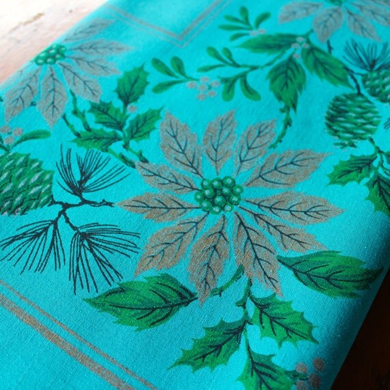 vintage christmas tablecloth linen teal blue green gold