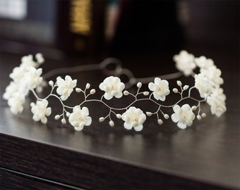 53_Ivory flower crown, Wedding hair accessories, Silver head piece, Pearl crown, Bridal head piece, Wedding hair piece, Crown bride, Floral.