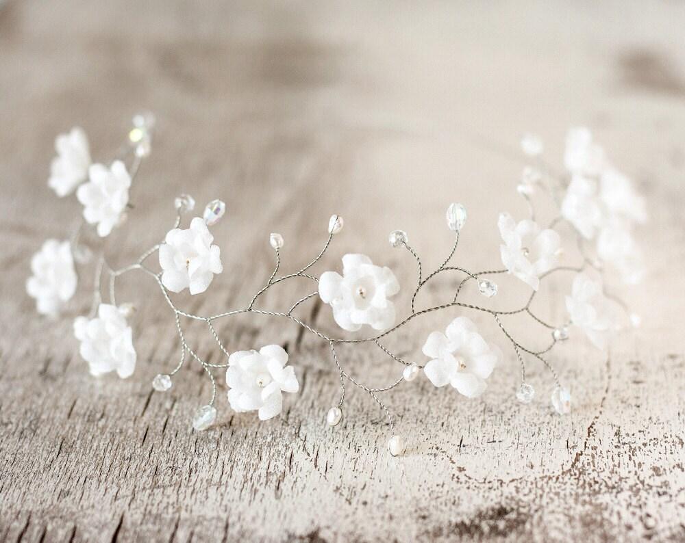 51 wedding flower crown white flower crown tiara flowers - Como hacer adornos para el pelo ...