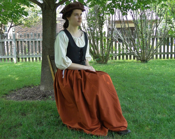 Renaissance Dress SET 3 Piece Costume: Bodice, Chemise & Skirt - Womens Size S, M, L, XL - 5 Colors