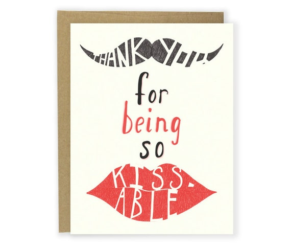 Funny Anniversary Card / Funny Love Card  - Thank You For Being So Kissable - I Love You Card, Mustache Card, Hand Lettered, Couple Card