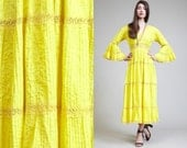 Vintage PIN TUCKED Yellow Bell Sleeves crochet 60s Maxi Dress // Lace // Boho Hippie