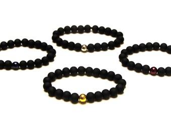Matte Black Minimalistic Beaded Bracelet, Mens Beaded Bracelet, Matte Black Bead Bracelet