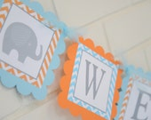 Welcome Baby banner, elephant baby shower, orange, blue and grey, elephant accent-yellow and grey