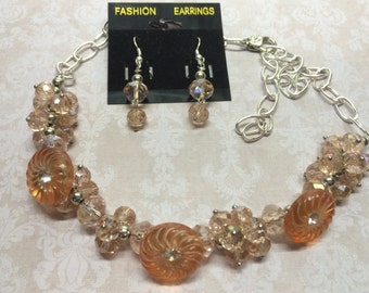 Elegant Crystal and Antique Button Necklace