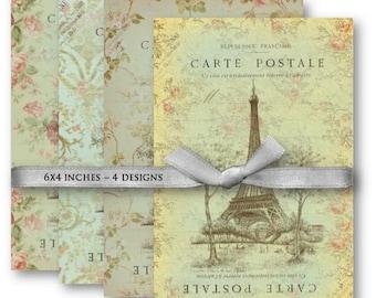 Digital Collage Sheet Download - Paris Floral Carte Postale -  1069  - Digital Paper - Instant Download Printables