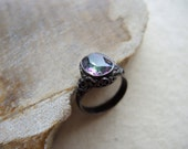 Mystic Topaz Ring ( Mystic Topaz With Oxidized Sterling Silver Ring ) Silver Ring Oxidized Ring Big Gem Stone Ring November Birthstone Ring