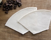 Reusable Organic Cotton Coffee Filters Cone Style Size 1 Eco Friendly – All Organic Cotton Fabric & Thread, Set of 2