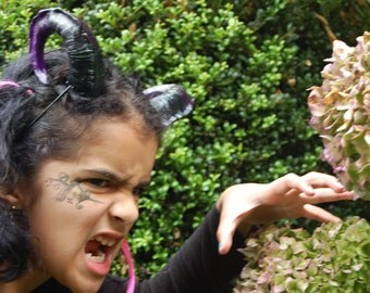 Black and Purple succubus demon HORNS  Halloween ren fair cos play larp rave