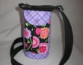 Water Bottle Holder Sling//Walkers Insulated Water Bottle Cross Body Bag// Hikers Water Bag-Purple and Black with pink flowers