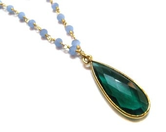 24kt. Gold Plated Blue Chalcedony Gemstone Faceted Beads Necklace Chrome Green Quartz Bezel Pendant ,18 inches long gemstone beaded chains