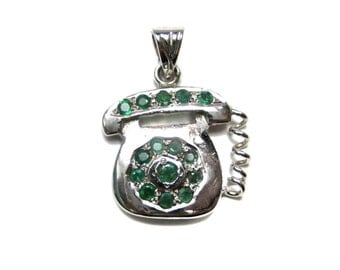 925 Sterling Silver Rhodium Plated Telephone Pendant with Natural Emerald Gemstones beautiful gift idea daily wear jewelry christmas gift