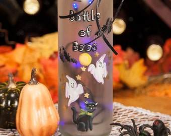 Halloween Bats Lighted Wine Bottle Hand Painted Bottle of Boos Purple LED Light Spooky Ghost Black Cat Night Light Frosted Glass Accent Lamp
