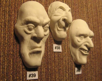 YOUR CHOICE - Polymer Clay Face Cab Casting of Creepy Character Doll Face Cabs for DIY Painting - Witch, Ghoul, Zombie, Warlock