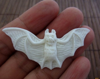 Amazing detail  Hand Carved Bat , Buffalo bone carving   jewelry supplies ,jewelry making supplies   S4143