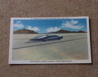 Vintage John Cobb,World Speed Record Postcard 1939