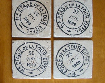 French Post Drink Coasters Set of 4