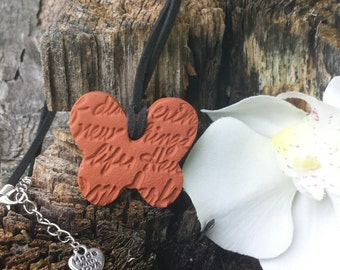 Butterfly with inspirational writing Terra cotta Essential Oil Diffuser Pendant for Aromatherapy Necklace