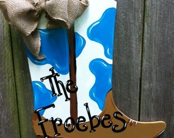 Cowboy or Cowgirl :) Western Boot Wooden Door Hanger