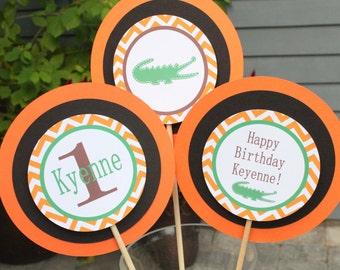 PREPPY CHEVRON ALLIGATOR Birthday or Baby Shower {Set of 3} Piece Centerpiece Orange Brown - Party Packs Available