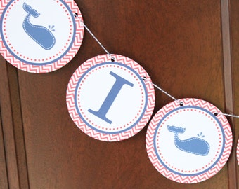 WHALE OF A TALE Highchair Banner 1st Birthday Party Red Navy White - Party Packs Available