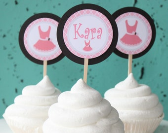 TUTU CUTE  Happy Birthday or Baby Shower Party Cupcake Toppers {12} One Dozen Pink Brown - Party Packs Available