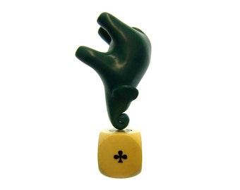 Pocket elephant green sculpture polymer clay decoration hand made OOAK