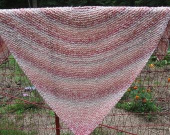 Hand Knit Triangular Prayer Shawl in Pinks