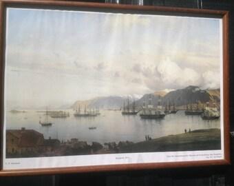 Vintage framed print of Reykjavik 1874