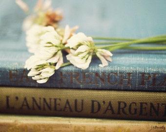 nature, clover, vintage, books, flowers, fine art photography