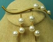 Vintage Pearl Earrings and Brooch Demi Parure