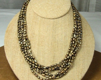 Vintage Fresh Water Pearl Necklace Six Strands Metallic Finish