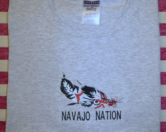 Embroidered Feathers Navajo Nation T shirt
