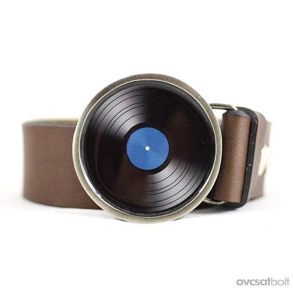 Vinyl Record Belt Buckle Blue Lp Vinyl Belt Buckle By