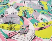 Vintage Tablecloth 1950's Rural America Pink Green Gray Town Scene with Church 52 x 42