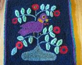Folk Art Bird hooked rug