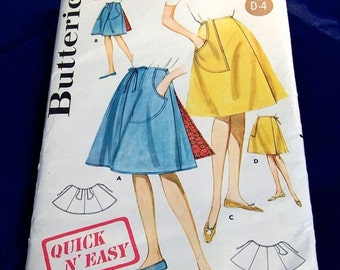 Vintage 1960's Butterick Pattern 2643 Quick N' Easy Wrap  Around Skirt  24 waist 2 lengths