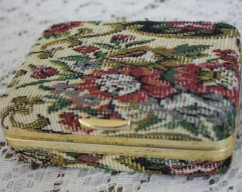 Vintage Small Earring Jewelry Box-Travel Box- Tapestry 1990s