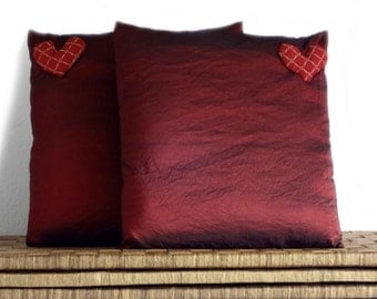 Decorative pillows, burgundy cushions, in elegant burgundy taffeta with romantic hearts, 16x16 inches