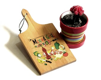 Nevco Paddle Cutting Board Mixed Grill Colorful Bright Graphics Kitchen Decor Mod Retro Mad Men Serving Cheese and Crackers Serving