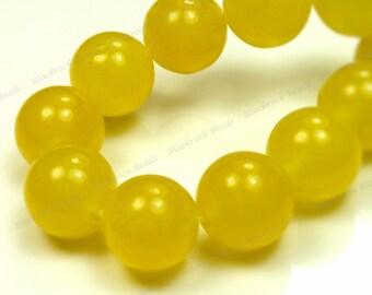 10mm Yellow Jade Round Gemstone Beads - 19pcs - BK5