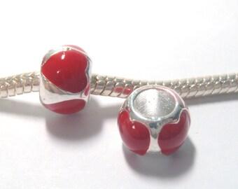 3 Beads - Red Heart Barrel Enamel Silver European Charm Bead E1322
