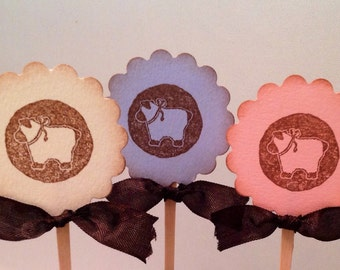 Sheep Cupcake Toppers- Lamb Cupcake Picks-Pink Lamb Blue Lamb Cupcake Picks- Gender neutral toppers