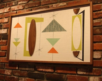 Mid Century Modern Witco Abstract Wall Art Sculpture Painting Tiki Retro Eames Era Madmen